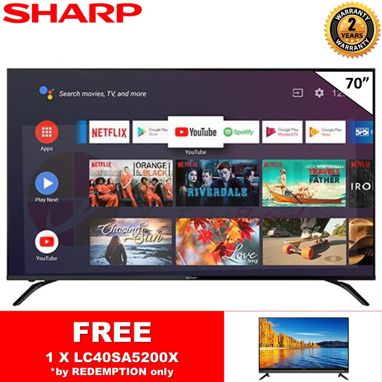 [FREE SHARP LC40SA5200X] (AUTHORISED DEALER) SHARP 4TC70AL1X 70 4K UHD DVB-T2 ANDRIOD TV DTTV IDTV MYTV MYFREEVIEW SUPPORTED
