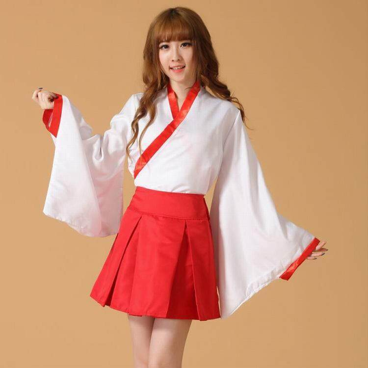 New popular anime Inuyasha Cos Kikyou Cosplay Halloween kimono costume full set (Top + Skirt + Hair Accessories)