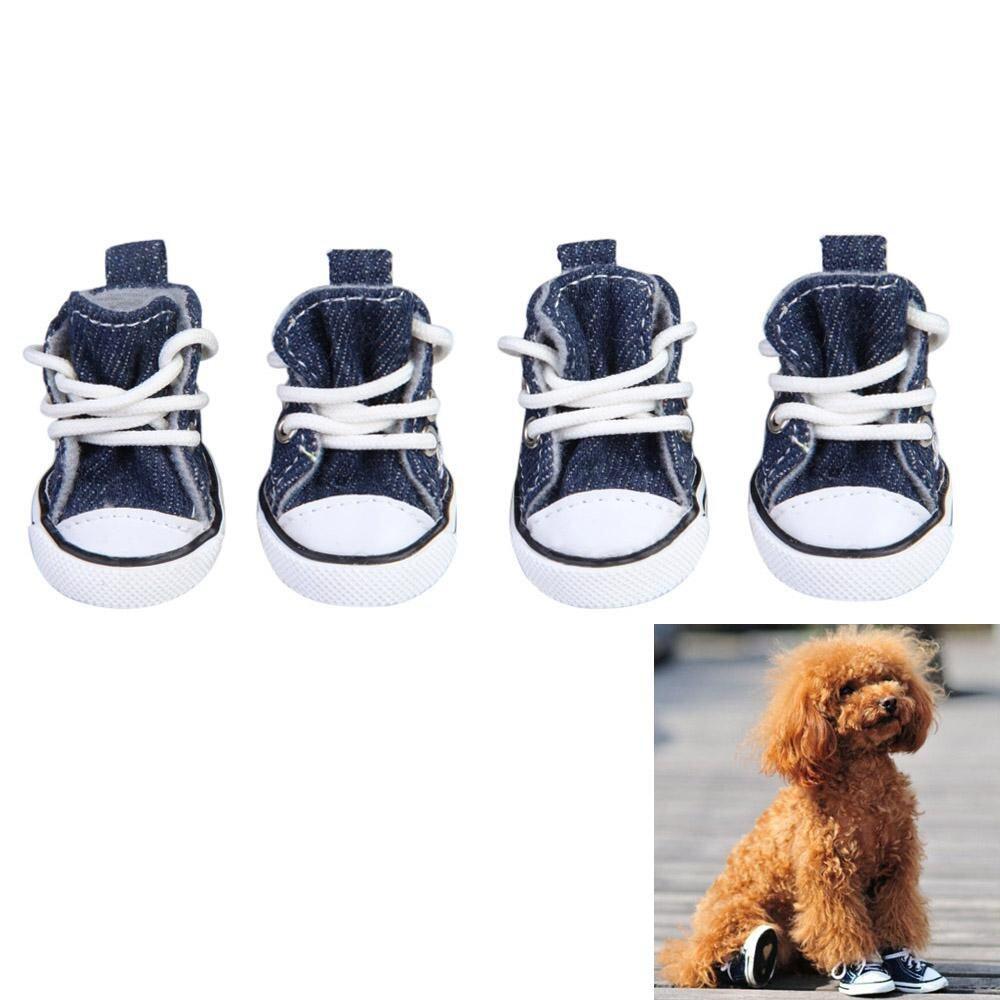 4 Pcs สัตว์เลี้ยงแฟชั่นสุนัข Puppy Sporty ผ้าดิบรองเท้าบู๊ทแฟชั่นสีน้ำเงินเข้ม By Chinatera Official Store.