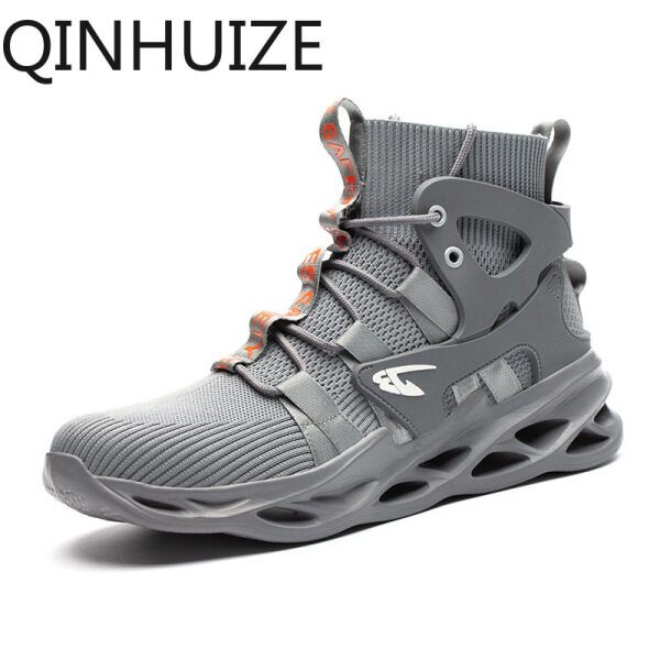 QINHUIZE Safety shoes mens anti-smashing anti-piercing steel toe cap work boots safety protective shoes fashion high top