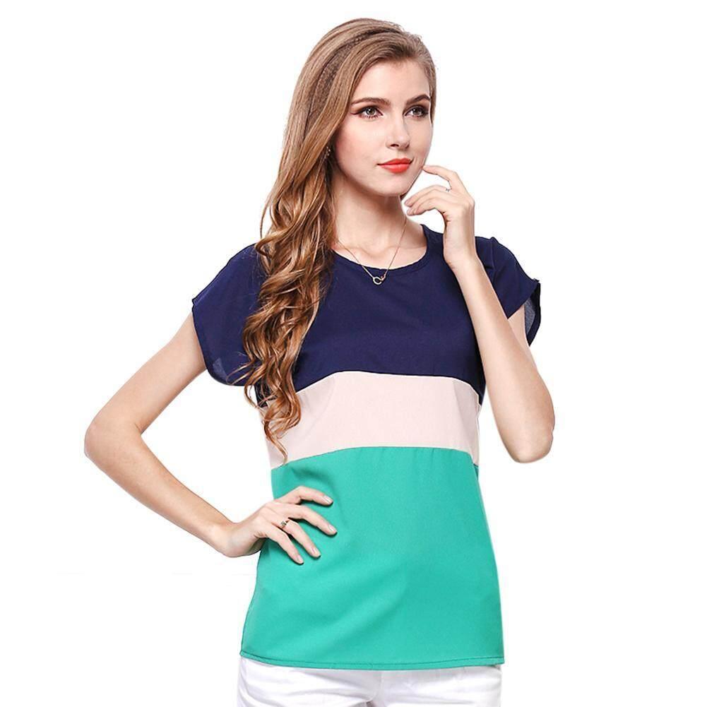 6eb3d5ff2385 Runflying Women T-Shirts Splicing Short Sleeve T-Shirts Chiffon Casual  Loose Plus Size