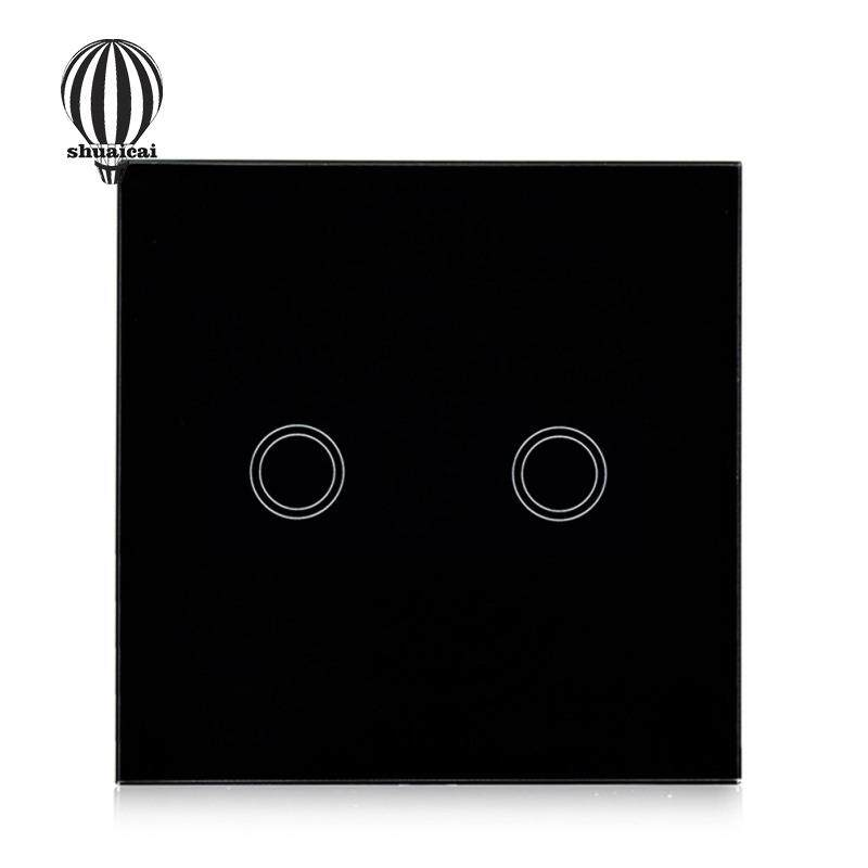 SC Single Fire Line Control Touch Switch with 2 Single Control Channels EU/UK Regulation Models:2 way black