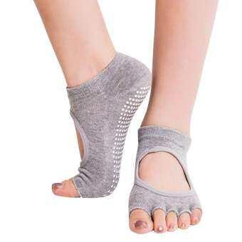 โยคะ Barre พิลาทิสถุงเท้าเปิดนิ้วเท้าไม่ลื่น Skid - proof กับ Grips ฝ้ายสำหรับผู้หญิง-