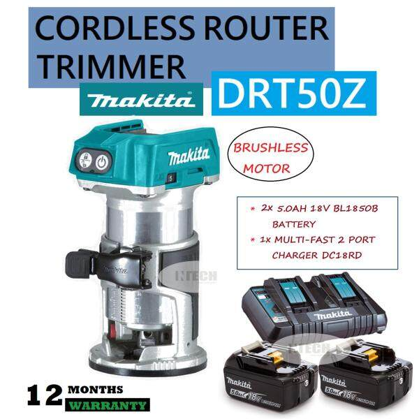 MAKITA DRT50Z CORDLESS ROUTER TRIMMER C/W 2x 5.0AH BATTERY BL1850B & 1x 2PORT MULTI-FAST CHARGER DC18RD