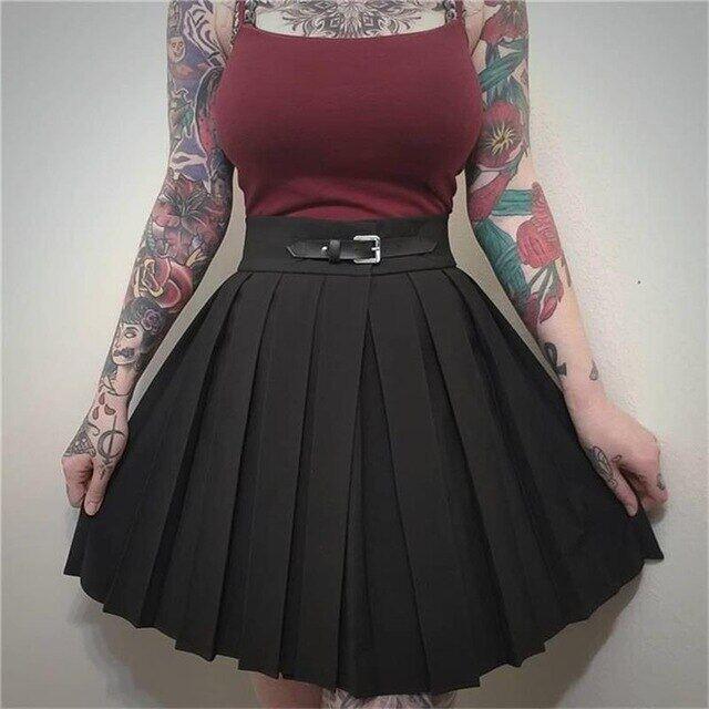 Váy Xếp Li Cạp Cao Gothic Váy Mini Xếp Ly Màu Đen Xếp Nếp Phong Cách Trường Học Punk 2019 Cho Nữ Khóa Thời Trang Dạo Phố Mùa Xuân