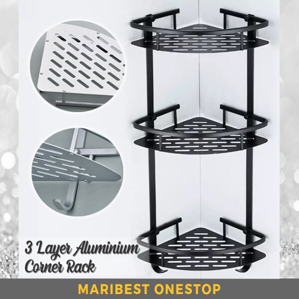 3 Tiers Aluminium Corner Rack Three Layer Kitchen Bathroom Shower Shelf with 2 Hooks - Black