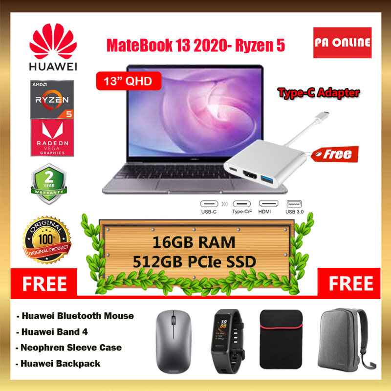 Huawei MateBook 13 2020- Intel Core i5 /Core i7 /AMD Ryzen 5 /16GB RAM /512GB PCIe SSD /13 FHD IPS /2GB NVD MX250(i5&i7) ,AMD Vega 8(Ryzen 5) /Win 10 /2 Years Malaysia