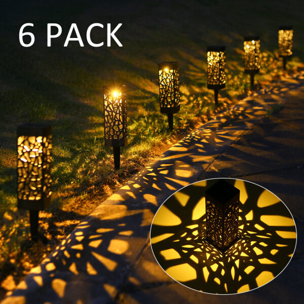 6pcs Tomshine DC2V Solar Powered Energy LEDs Lawn Lamp Hollow Pattern Design Lighting Sensor Decorative Landscape Light Outdoor IP65 Water Resistance for Garden Yard Patio Courtyard