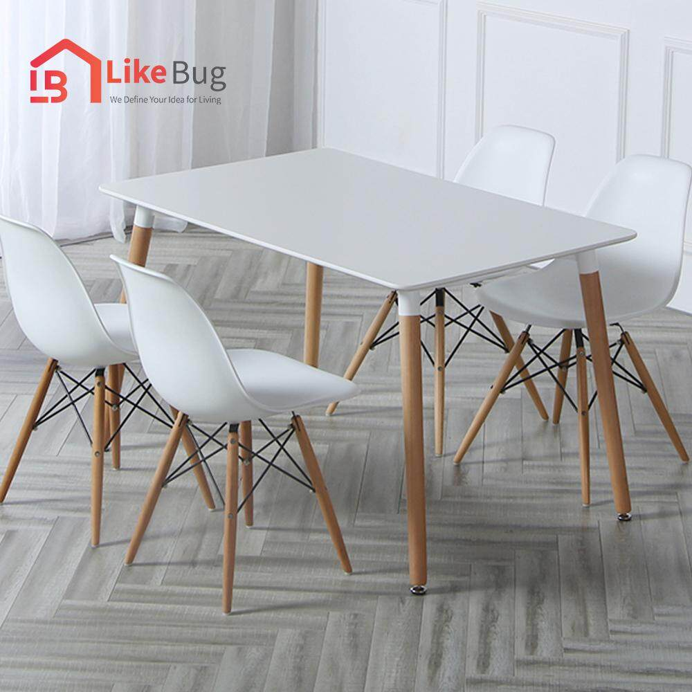 LIKE BUG : Simple Eames Dining Table with 4 Creative Curvy Eames Designer Chairs - Dining Set