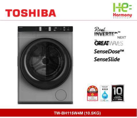 New: Toshiba 10.5kg Front Load Real Inverter Washer TW-BH115W4M + Free Backpack Worth RM129 ( Mesin Basuh )
