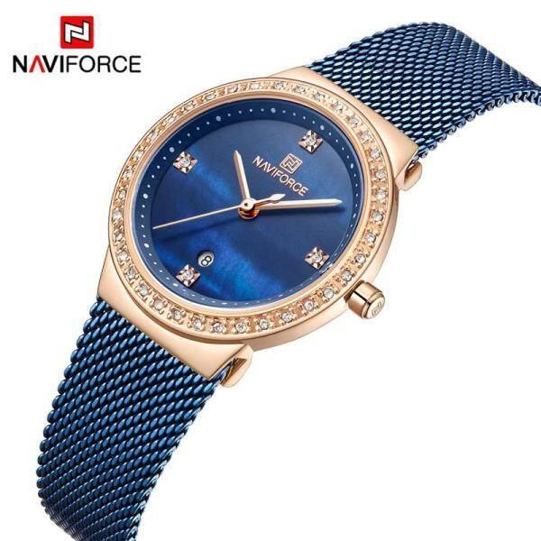 NAVIFORCE Women Watch Fashion Elegant Casual watch for women Ladies Luxury Rhinestone Waterproof Wristwatch Mesh Belt 5005 Malaysia