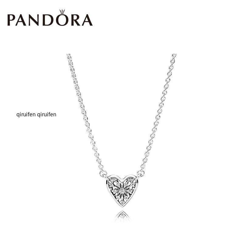 5c86061bf (Ready Stock) PANDORA winter heart necklace 396370CZ temperament  personality clavicle chain one year warranty