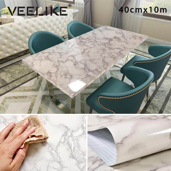 Veelike 40cmX1000cm Marble Vinyl Film Self Adhesive Wallpaper Bathroom Kitchen Cupboard Countertops Contact Paper PVC Waterproof Wall Stickers
