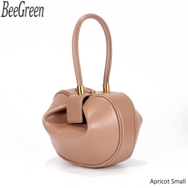 BeeGreen 100% Genuine Leather Handbags European Fashion Retro Dumplings Wonton Handbags New Design 2 Sizes