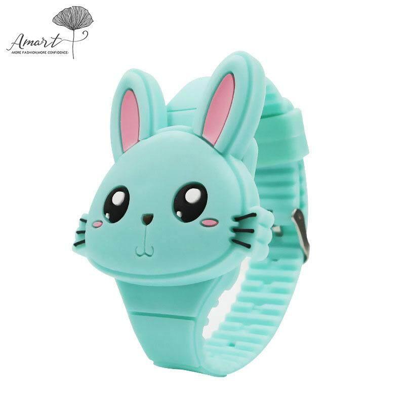 Amart Fashion Kids LED Electronic Watch Silicone Band Cartoon Rabbit Flip Case Wrist Watch Lovely Gift Malaysia