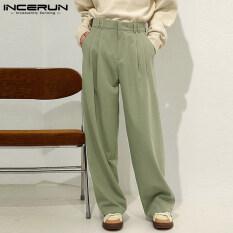 (Phong Cách Hàn Quốc) INCERUN Quần Có Khóa Kéo Vải Chino Cho Nam Quần Công Sở Trang Trọng Dáng Rộng Mặc Thường Ngày Quần Dài