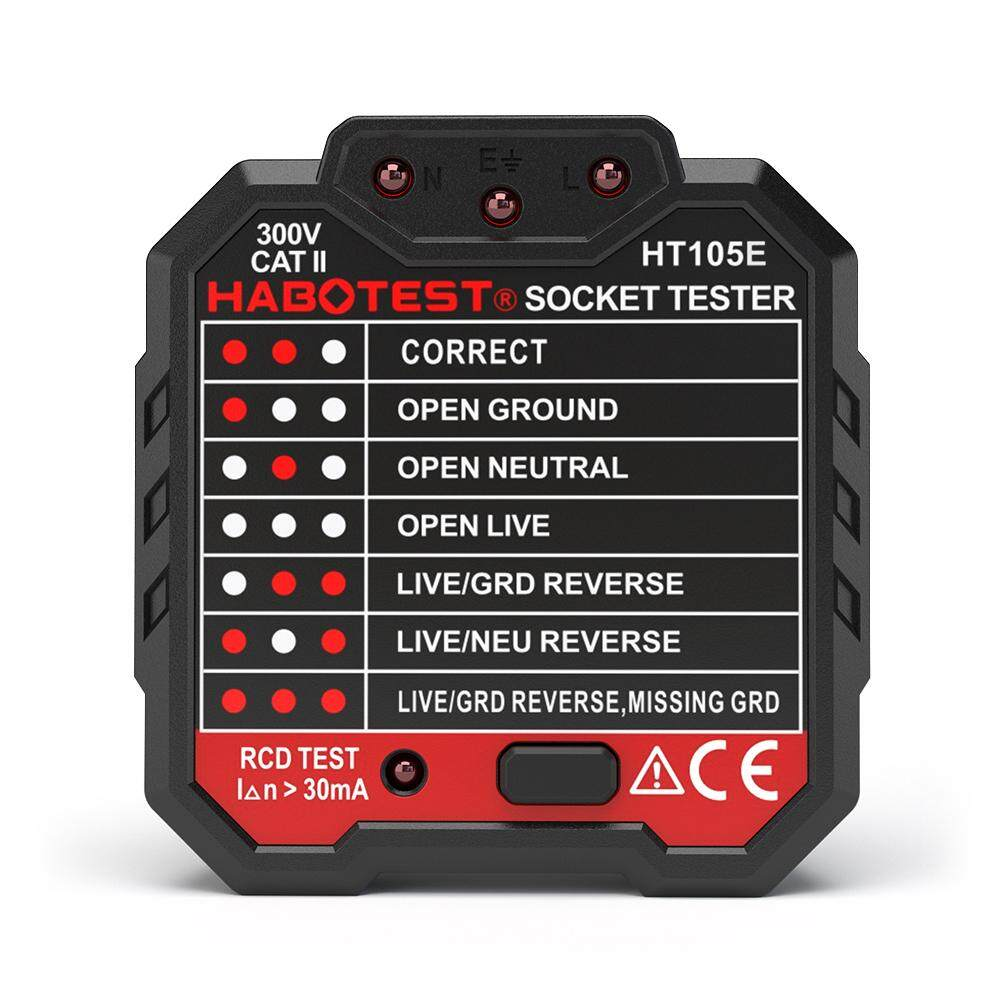 HABOTEST Advanced RCD Electric Socket Tester Automatic Neutral Live Earth Wire Testing Circuit Polarity Detector Wall Plug Breaker Finder Electric Leakage Test UK Plug