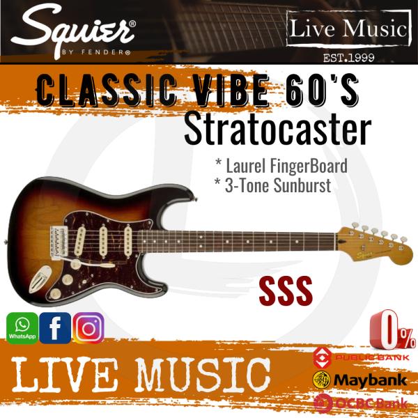 Squier Classic Vibe 60s Stratocaster Electric Guitar - 3-Tone Sunburst Malaysia