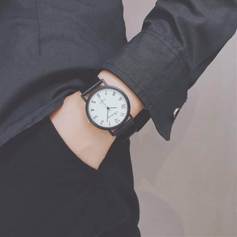 Mirene Kasual Beberapa Jam Tangan Mewah Kuarsa Tali Plastik Jam Tangan Klasik Pria Wanita Hitam Sederhana Jam Muka Arloji