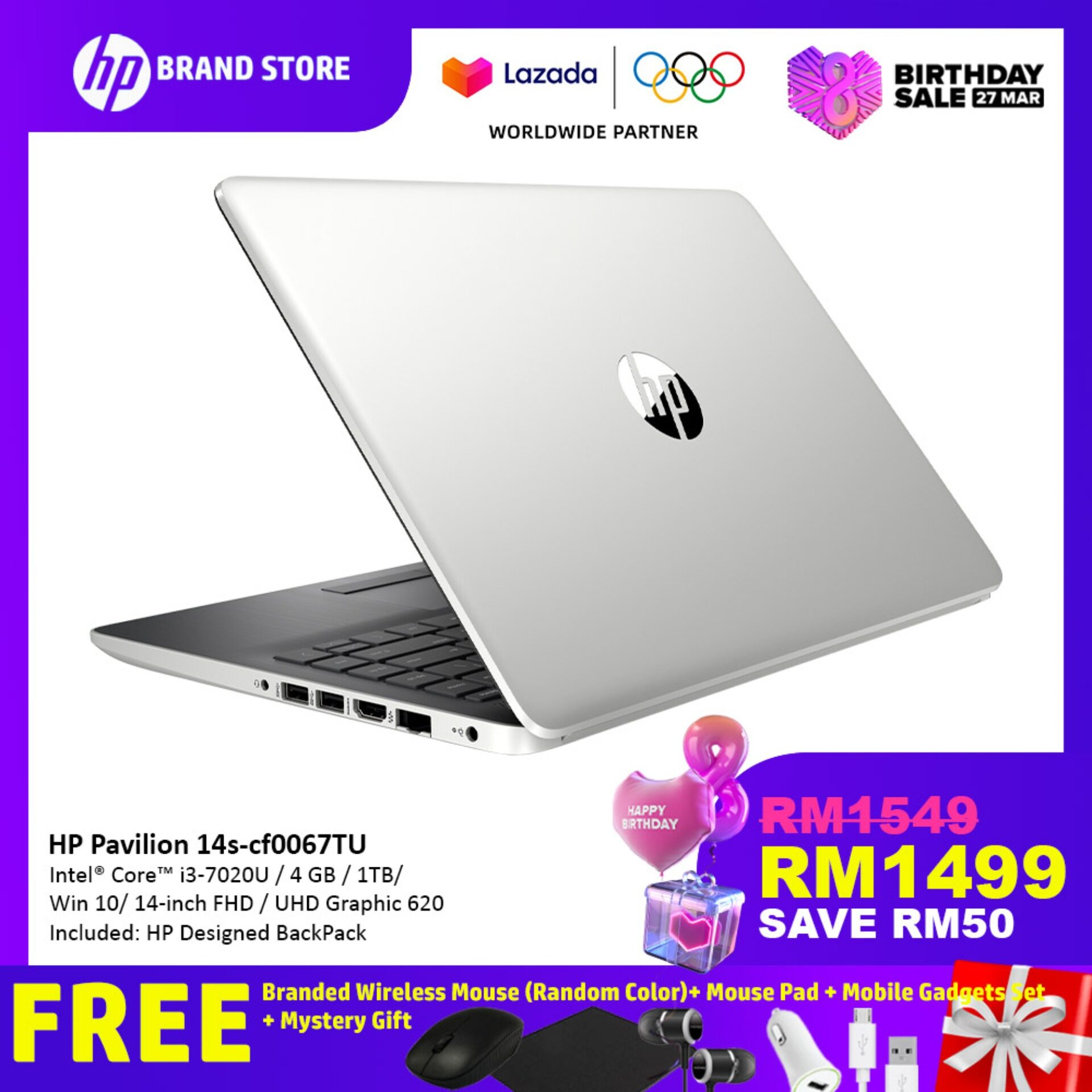 HP 14s-cf0066TU/ 14s-cf0067TU Notebook Pale Gold/ Natural Silver 6JM53PA/ 6JM55PA/i3-7020U /14IN/4GB/1TB/Intel/Win10 + Free HP Wireless Mouse (Random Color)+ Mouse Pad + Mobile Gadgets Set + Mystery Gift Malaysia