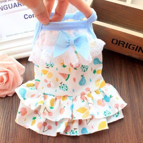Đầm có dây dễ thương cho chó DY Váy Xòe Ren Váy lưới cotton thắt nơ cho chó Dành cho Nữ Váy hoa công chúa mèo