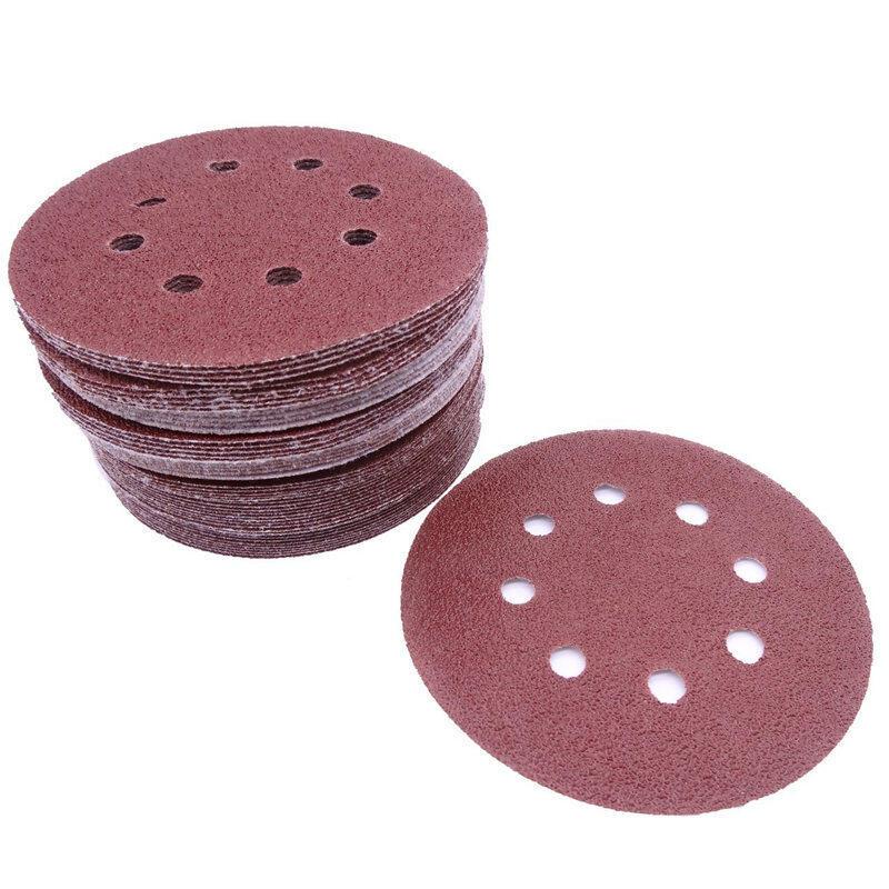 50 pcs 5 inch 8 Hole 80 Grit Mix Sanding Disc Random Orbit Sandpaper Buckle Sander