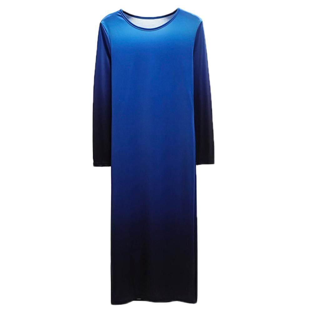 Bluelans®ฤดูใบไม้ร่วงสีการไล่ระดับแฟชั่นแขนยาวคอกลมหลวมผู้หญิง Midi ชุด By Bluelans.