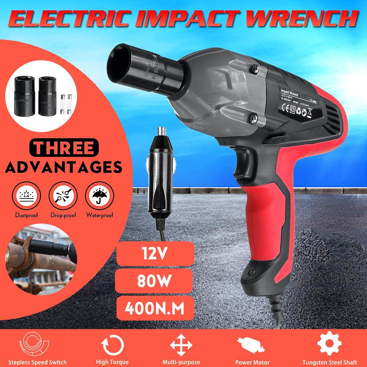 12V 1/2  400N.M Electric Impact Wrench Torque Tire Change Tool W/ LED Light