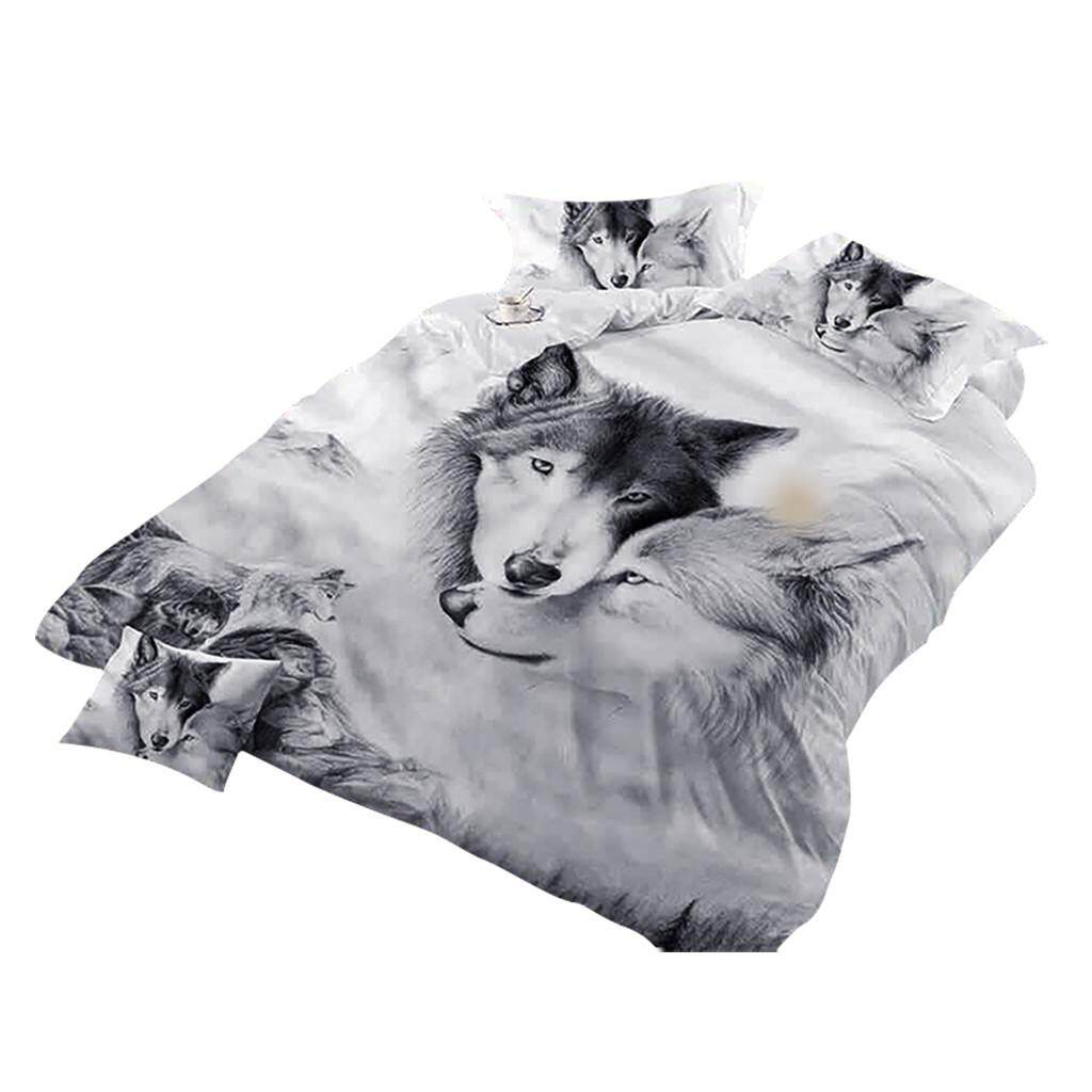 High Grade Wolf Couple Print Bedding Bedding Cool Grey Wolf Duvet Cover Set 3 Pcs 3D Painting Duvet Cover