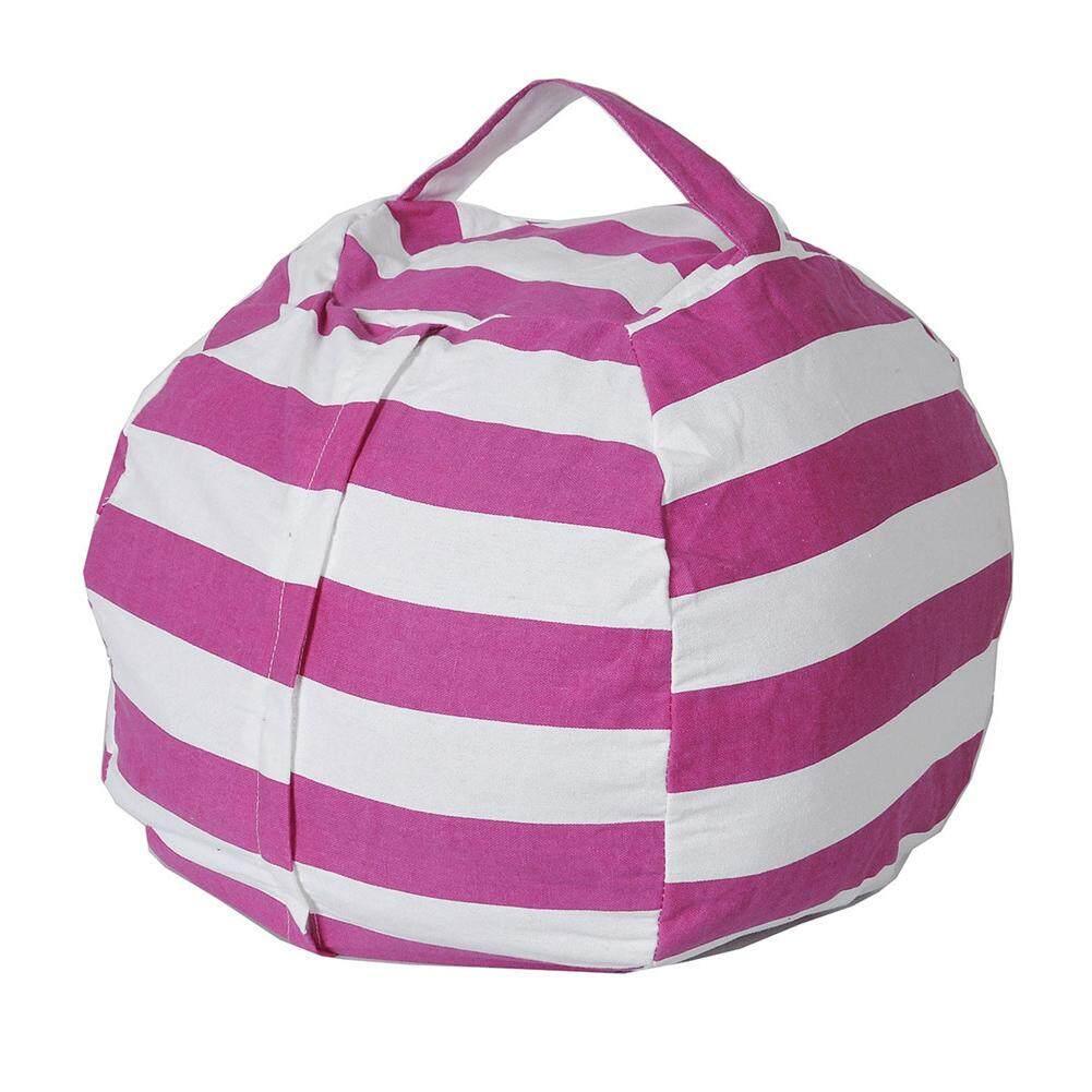 64f8e356bf8f Plush Toy Storage Bag Kids Stuffed Animal Capacity Convenient Ball Shape  Plush Toy Storage Bean Bag Soft Pouch Stripe Fabric Chair