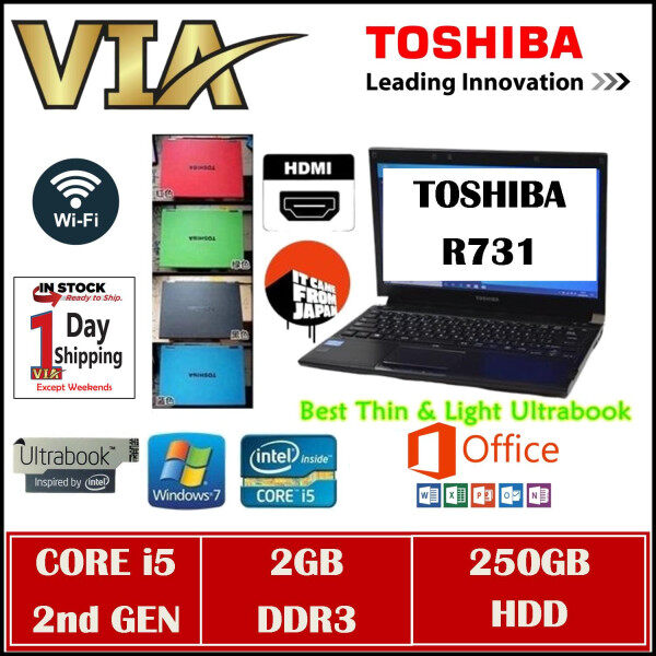 HDMI Toshiba UltraBook R731~CORE i5 (2nd GEN)~2GB DDR3~250GB HDD~13.3~Slim~Lightweight~Win7 Malaysia