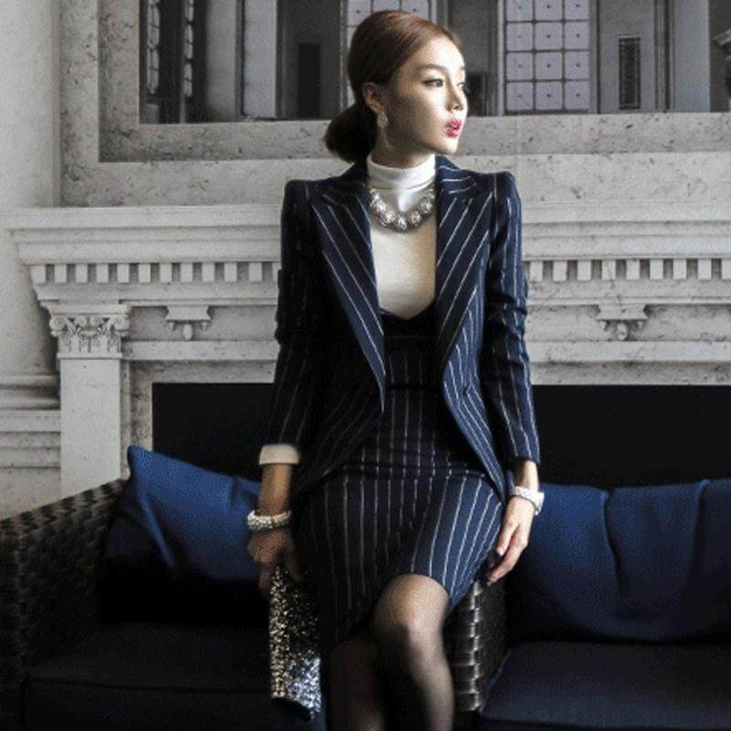 54e492b81fe OL Work Striped Office Lady Dress Suits 2 Two Piece Sets Elegant Women  Blazer Jacket +