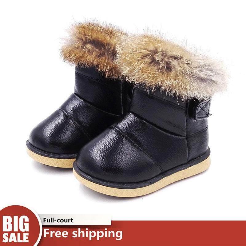 Giá bán Chiến Thắng Mới phiên bản Hàn Quốc của đế mềm bé gái Làm dày dày bông ấm áp chống trượt trẻ em cotton shoes【READY CỔ-Cao Quality】