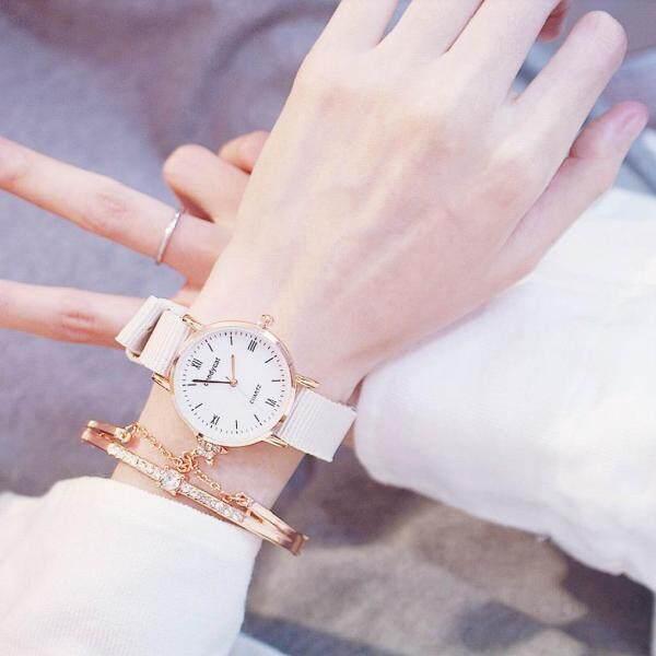 K POP fashion women minimalist rtro round quartz watch with silicone strap B4XHSp9x Malaysia