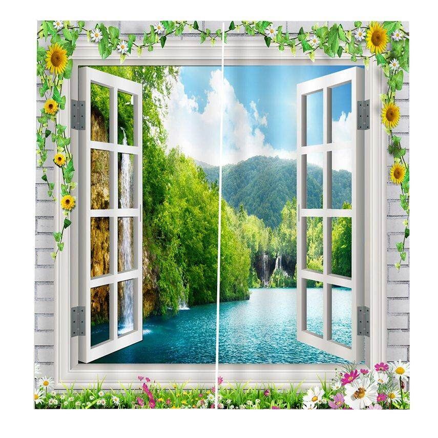 KAKA Window grille 150*166Curtain Floral Flowers Printing Door Window Curtains Home decor Bedroom Living room