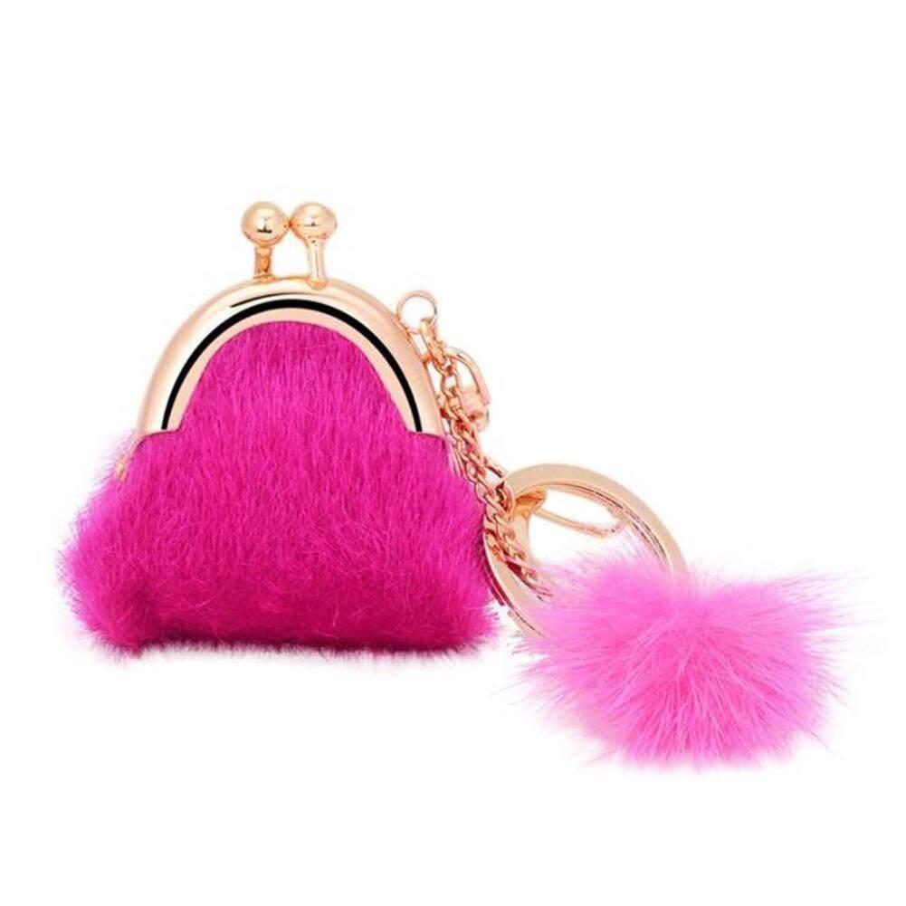 กระต่ายลูกขนตุ๊กตารถพวงกุญแจขนาดเล็กกระเป๋าใส่มือถือกระเป๋าพวงกุญแจกระเป๋าสตางค์ By Lucky Day18.