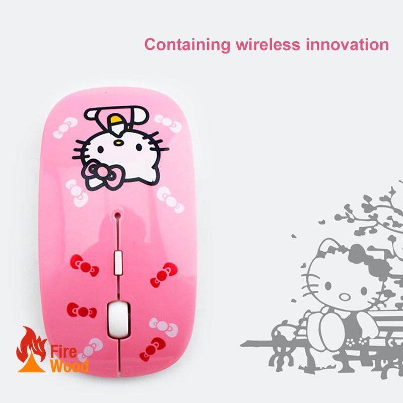 Cute Cortoon Wireless Mouse 2.4G Cute KT Cat Cartoon tan-PINK Malaysia