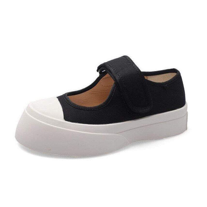 2020 Xuân Hè Giày Nữ Kiểu Dáng Chắc Chắn Thời Trang Canvas Mũi Tròn Giày Mary Janes Giày Nữ Vintage Casual Giày Nữ giá rẻ