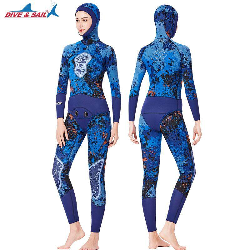 bc3029635586 3MM neoprene long sleeve hooded camo diving set thicken Unisex jellyfish  hunting fish wetsuit