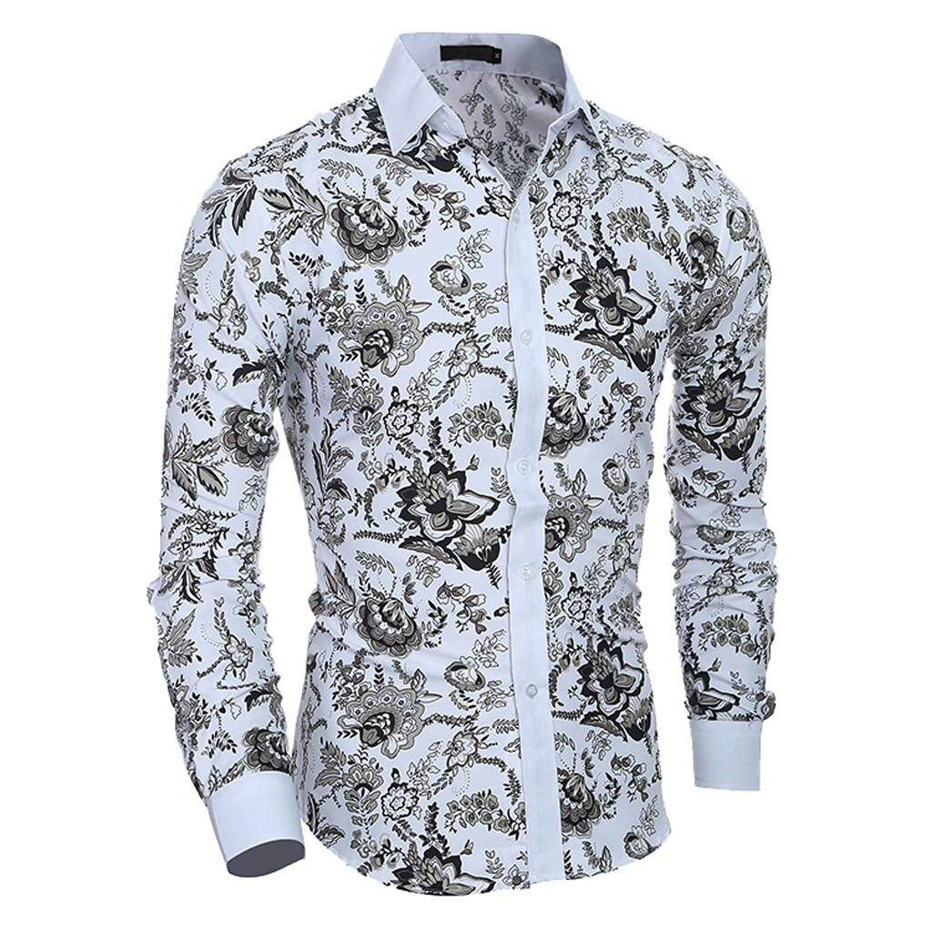 9fe54b4b2343 Men Spring Summer Casual Flower Print Long Sleeve Slim Shirt Top Blouse