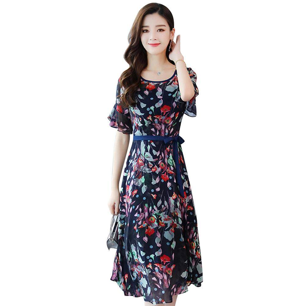 AngelHouse[most populat+biggest discount] Women Lady Printed Floral Round Neckline Swing Flared