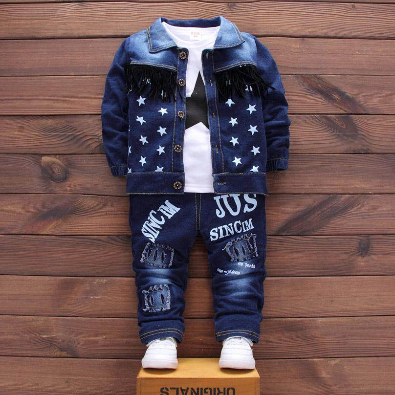 0c50d25c59a16 IENENS 3PC Kids Baby Boys Girls Denim Clothes Clothing Sets Infant Boy Girl  Coat + T-Shirt + Jeans Outfits Suits Tracksuits