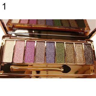 Palet Kosmetik Perona Mata 9 Warna Tahan Air, Palet Eyeshadow Mengilap Berkilau dengan Kuas thumbnail