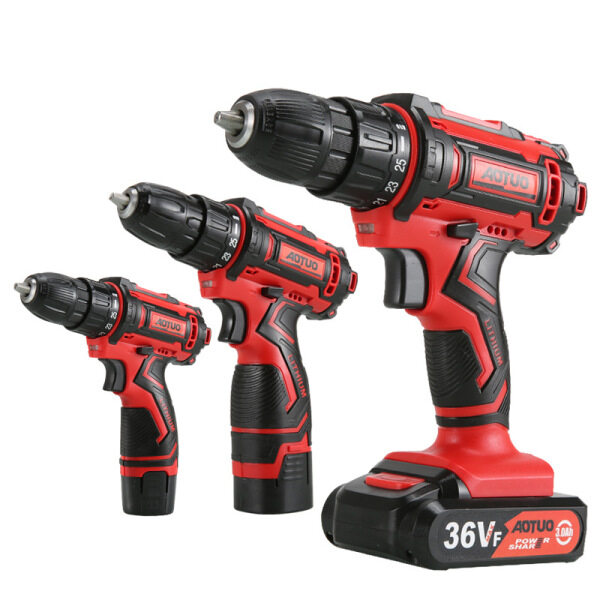 [ Fast delivery] Aotuo power tool Lithium electric charging drill multi-purpose impact drill for home charging electric drill electric screwdriver