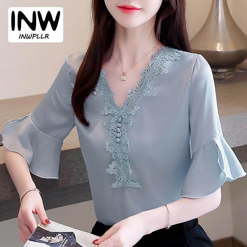 Inwpllr Wanita Pendek Lengan Baju Ukuran Plus Atasan Musim Panas Wanita Korea Kantor Kaus Sifon Gaya Baru Wanita Renda Blus Kain Perca