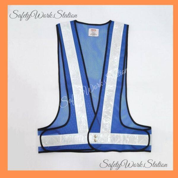 (LOCAL STOCK) Safety Vest Netting V Shape Royal Blue with White Reflector