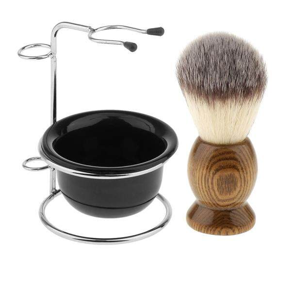 Buy Baosity Set of 3 Pieces Natural Wood Shaving Brush + Stainless Steel Holder Stand Rack + Mens Shave Soap Cream Mug Bowl Set Kit Singapore