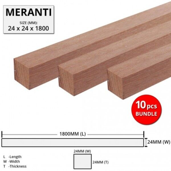 Meranti Wood Timber Smooth Planed Surfaced Four Sides (S4S) 24MM (T) x 24MM (W) x 1800MM (L) - 10PCS