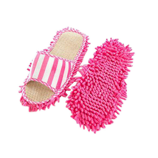 Advance Mall Coral Velvet Striped Machine Washable Slippers Chenille Linen Mopping Slippers