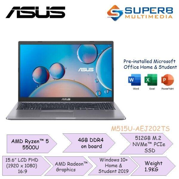Asus M515U-AEJ202TS [Ryzen5-5500U/4GB Ram/512GB SSD/AMD Radeon/15.6] Laptop Malaysia